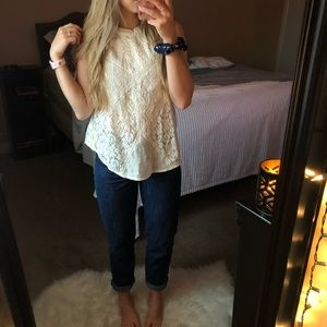 American Eagle Outfitters Tops - American Eagle Cream Lace Mock Neck Tank